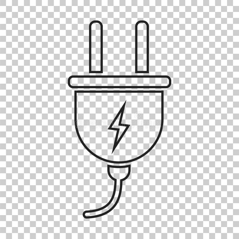 Ícone do vetor da tomada na linha estilo Illustrati liso do cabo de fio do poder ilustração do vetor