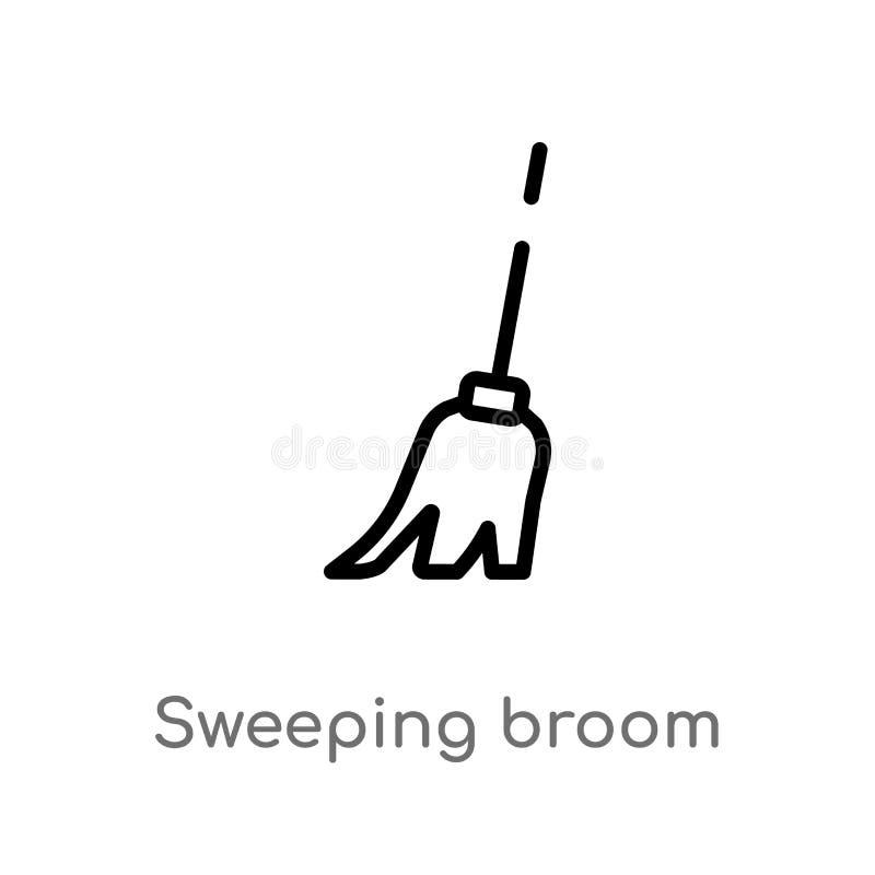 ícone do vetor da vassoura da lavagem do esboço linha simples preta isolada ilustração do elemento do conceito da construção Veto ilustração stock