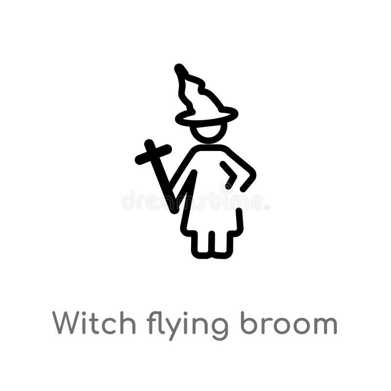 ícone do vetor da vassoura do voo da bruxa do esboço linha simples preta isolada ilustração do elemento do conceito dos povos Vet ilustração royalty free