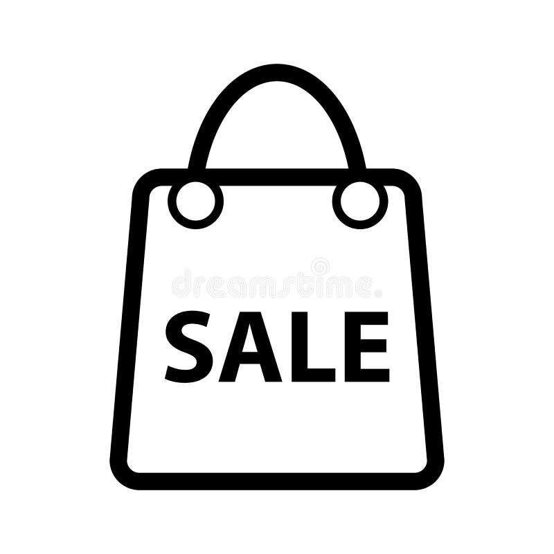 Ícone do vetor da venda da compra Ícone preto e branco do saco para anunciar a ilustração dos discontos Ícone da compra do esboço ilustração royalty free