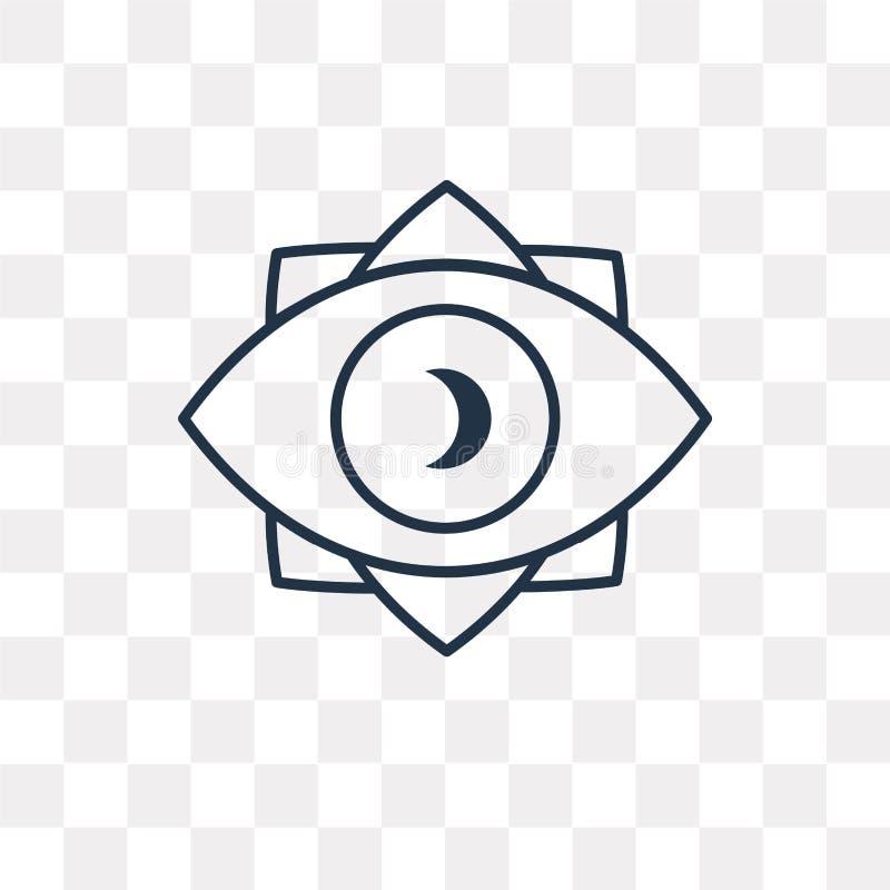 Ícone do vetor da visão isolado no fundo transparente, Vi linear ilustração do vetor