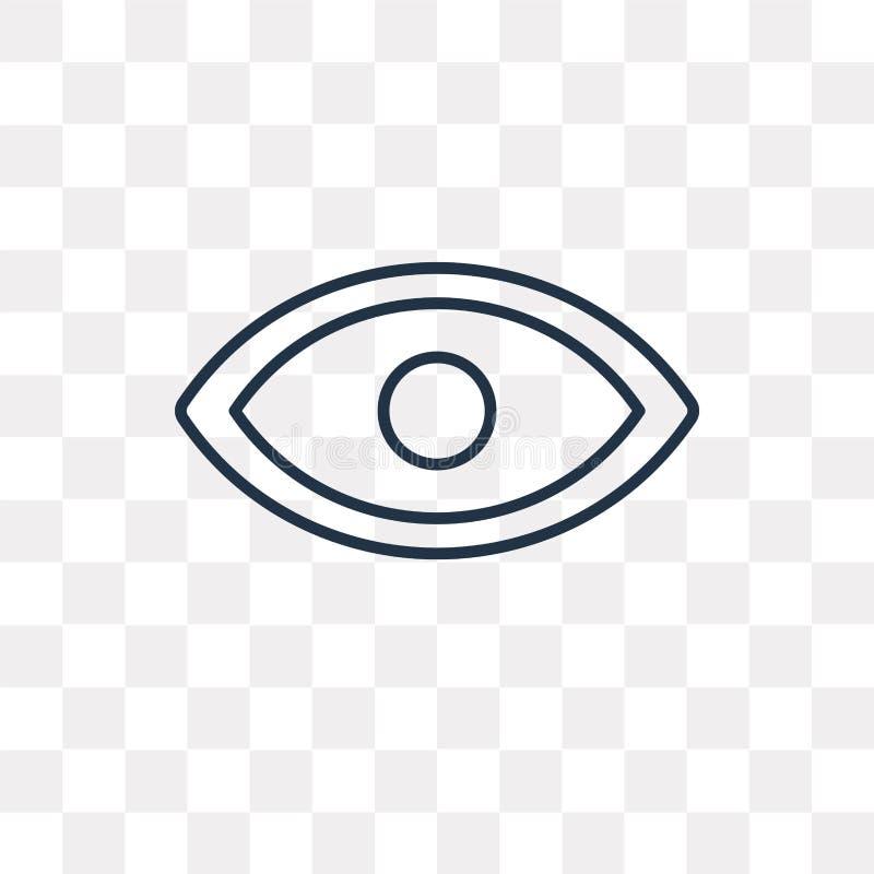 Ícone do vetor da visão isolado no fundo transparente, Vi linear ilustração stock