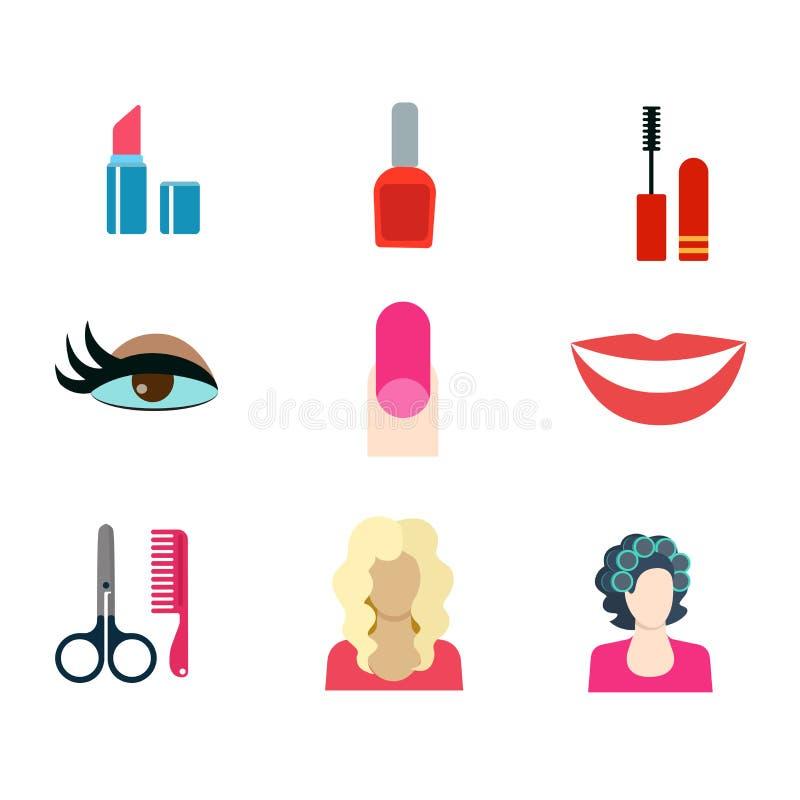 Ícone do vetor da Web do salão de beleza do corte de cabelo da loja da composição da beleza: prego do batom ilustração stock