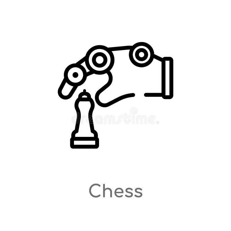 ícone do vetor da xadrez do esboço linha simples preta isolada ilustração do elemento do conceito da inteligência artificial Veto ilustração do vetor