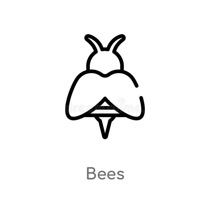 ?cone do vetor das abelhas do esbo?o linha simples preta isolada ilustra??o do elemento do conceito de cultivo e de jardinagem Ve ilustração do vetor