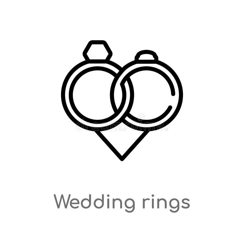ícone do vetor das alianças de casamento do esboço linha simples preta isolada ilustração do elemento do conceito do amor & do ca ilustração stock