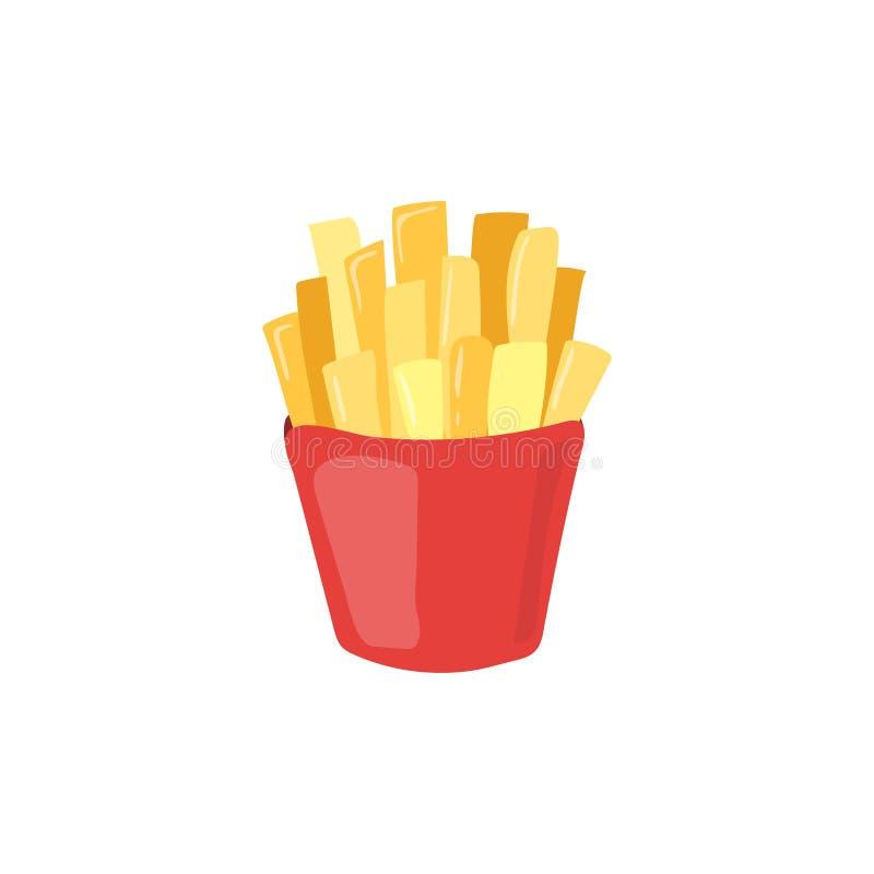 Ícone do vetor das batatas fritas do fast food Carro insalubre da batata comer ilustração stock