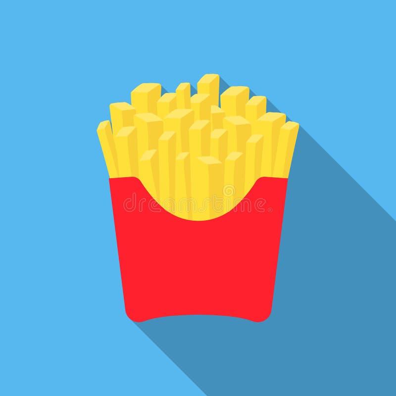 Ícone do vetor das batatas fritas no estilo liso para a Web ilustração royalty free