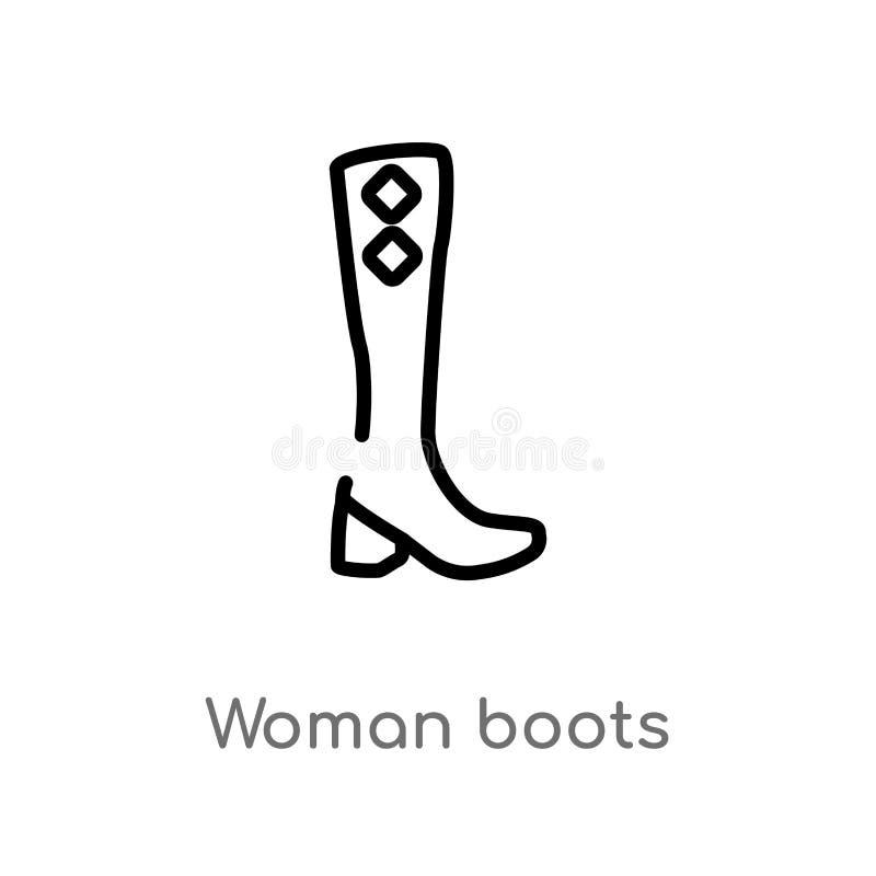 ícone do vetor das botas da mulher do esboço linha simples preta isolada ilustração do elemento do conceito da forma Curso editáv ilustração royalty free