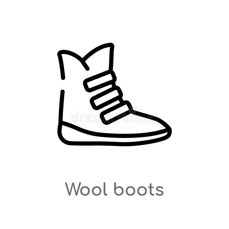 ícone do vetor das botas de lãs do esboço linha simples preta isolada ilustração do elemento do conceito da roupa lãs editáveis d ilustração royalty free