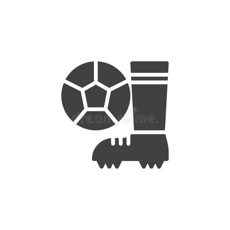 Ícone do vetor das botas e da bola do futebol ilustração royalty free