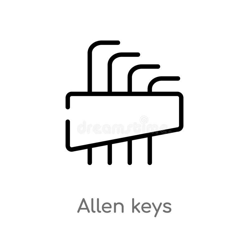 ícone do vetor das chaves de Allen do esboço linha simples preta isolada ilustra??o do elemento do conceito da constru??o e das f ilustração stock