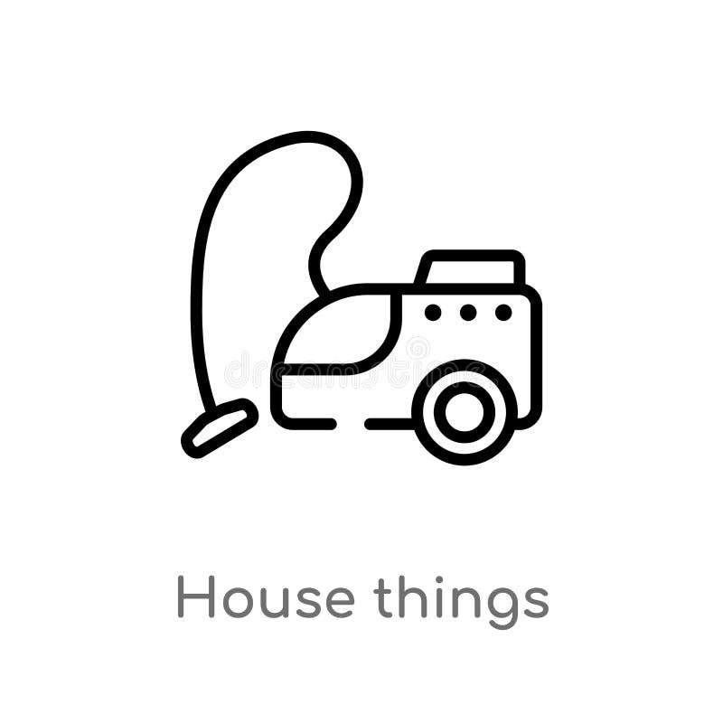 ícone do vetor das coisas da casa do esboço linha simples preta isolada ilustra??o do elemento do conceito das ferramentas e dos  ilustração do vetor