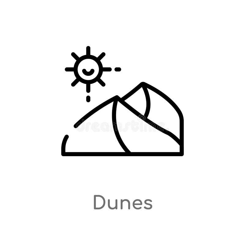 ?cone do vetor das dunas do esbo?o linha simples preta isolada ilustra??o do elemento do conceito do deserto ?cone edit?vel das d ilustração do vetor