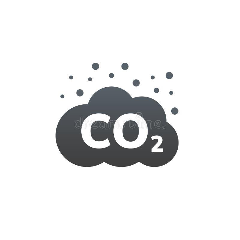Ícone do vetor das emissões de CO2 Nuvem do gás do carbono, poluição do dióxido Conceito global da poluição atmosférica da emissã ilustração stock
