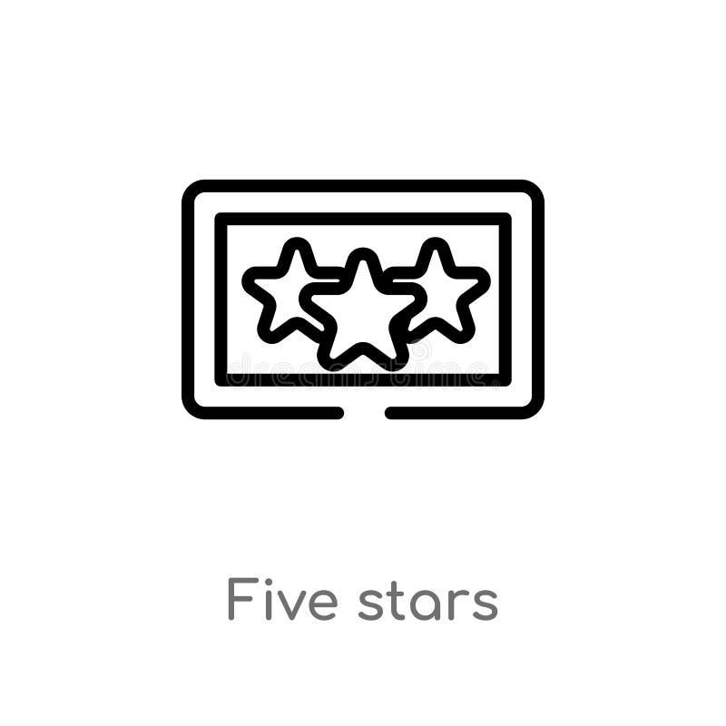ícone do vetor das estrelas do esboço cinco linha simples preta isolada ilustração do elemento do conceito da acomodação Curso ed ilustração do vetor