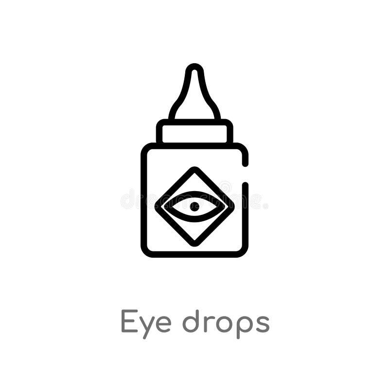 ícone do vetor das gotas de olho do esboço linha simples preta isolada ilustração do elemento do conceito médico olho editável do ilustração stock