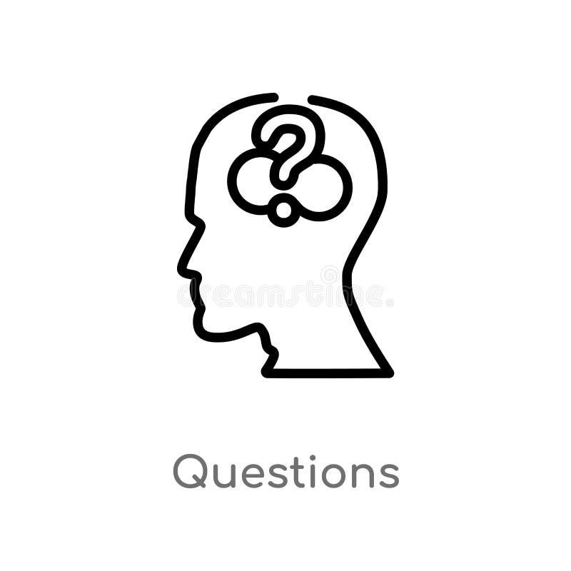 ícone do vetor das perguntas do esboço linha simples preta isolada ilustra??o do elemento do conceito do processo do c?rebro Curs ilustração do vetor
