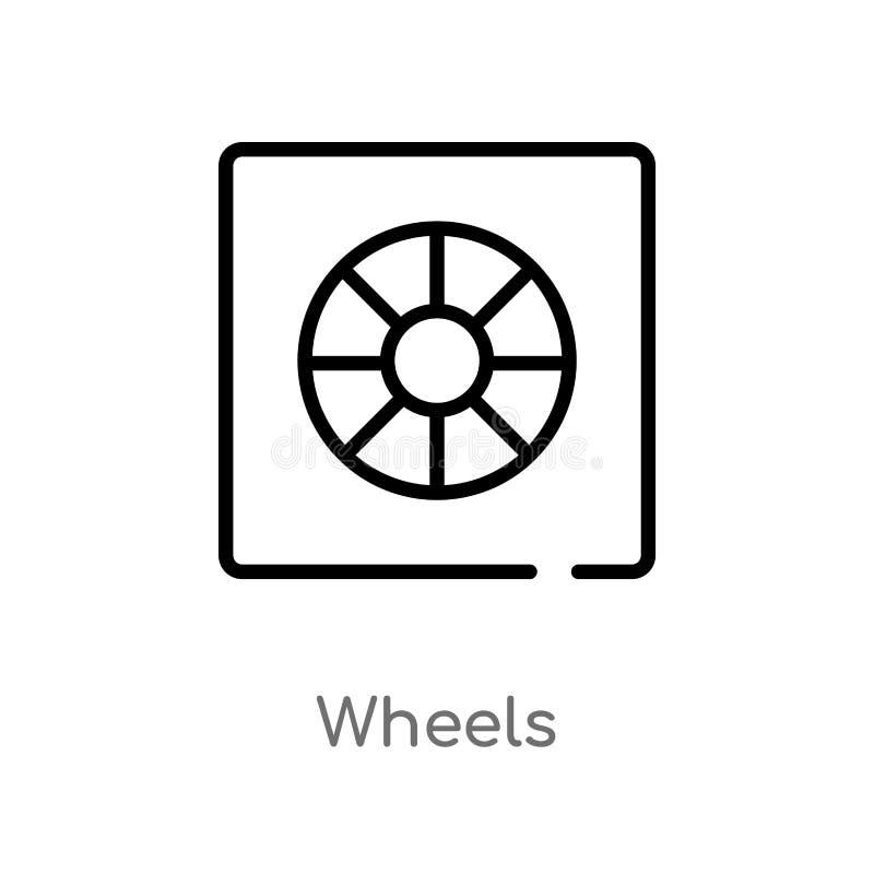 ícone do vetor das rodas do esboço linha simples preta isolada ilustração do elemento do conceito da interface de usuário Curso e ilustração stock