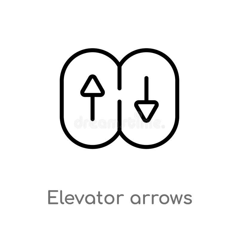 ícone do vetor das setas do elevador do esboço linha simples preta isolada ilustra??o do elemento do conceito da interface de usu ilustração do vetor