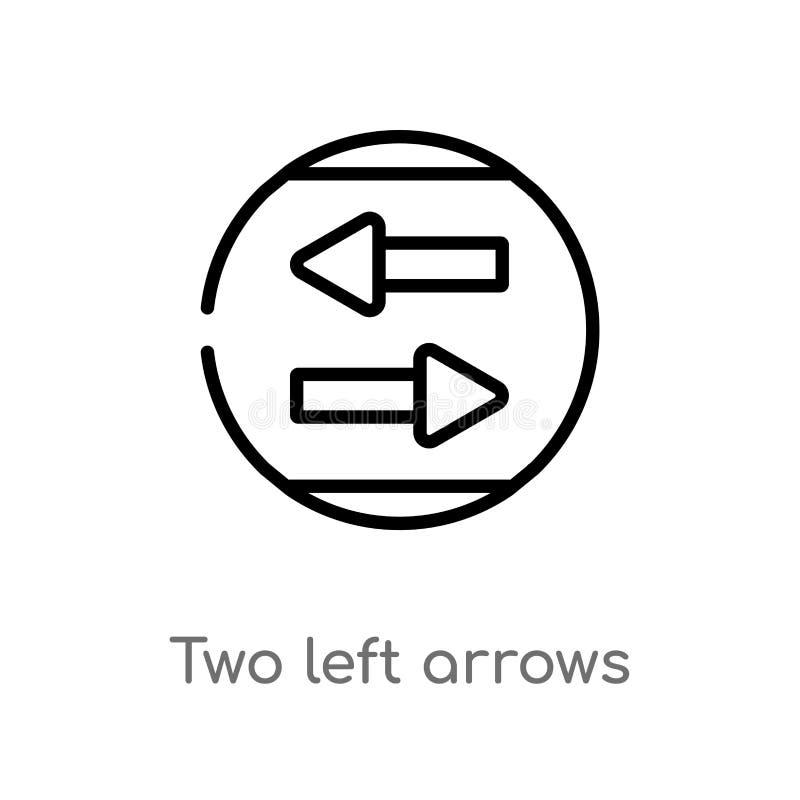 ícone do vetor das setas esquerdas do esboço dois linha simples preta isolada ilustra??o do elemento do conceito da interface de  ilustração stock