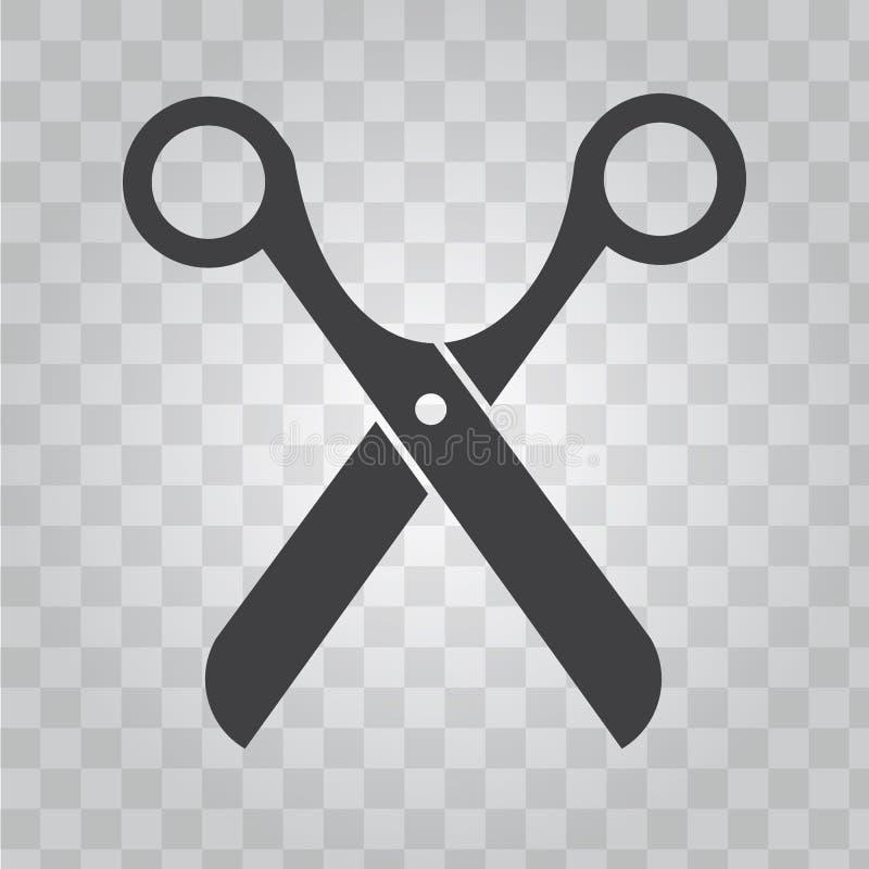 Ícone do vetor das tesouras para o símbolo da barbearia Vetor contínuo e liso do projeto da cor ilustração royalty free