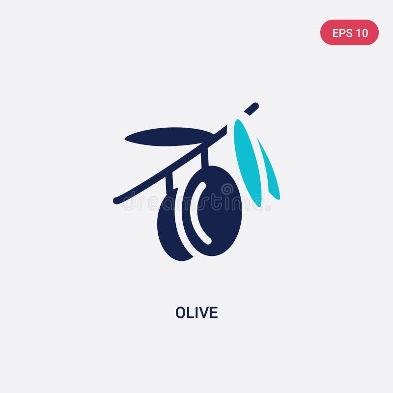 Ícone do vetor de azeitona de duas cores do conceito de frutos símbolo isolado do vetor azul de oliveira pode ser usado na web, m ilustração stock