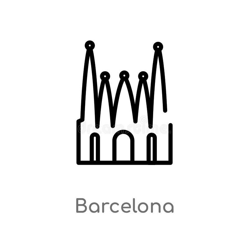 ícone do vetor de Barcelona do esboço linha simples preta isolada ilustração do elemento do conceito dos monumentos Curso editáve ilustração stock