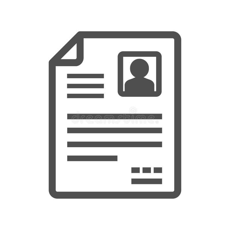 Ícone do vetor de CV/Resume ilustração royalty free