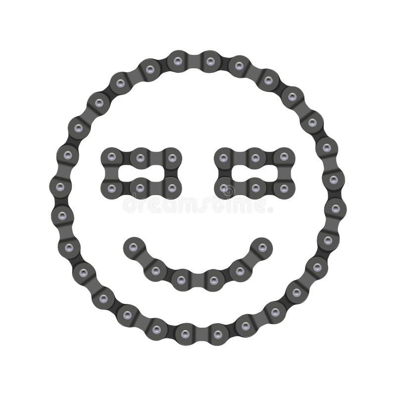 Ícone do vetor de Emoji do sorriso, do sorriso feito da bicicleta ou corrente da bicicleta ilustração stock