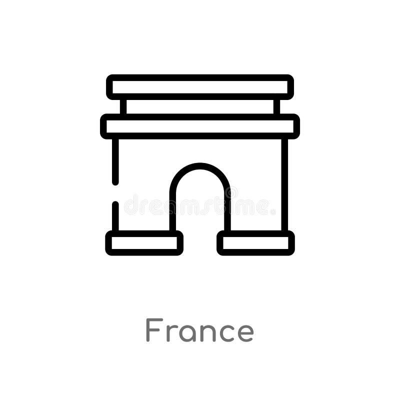 ícone do vetor de france do esboço linha simples preta isolada ilustra??o do elemento do conceito do curso curso editável france  ilustração do vetor