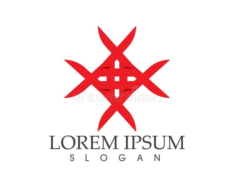 Ícone do vetor de Logo Template do falcão da estrela vermelha e azul ilustração royalty free