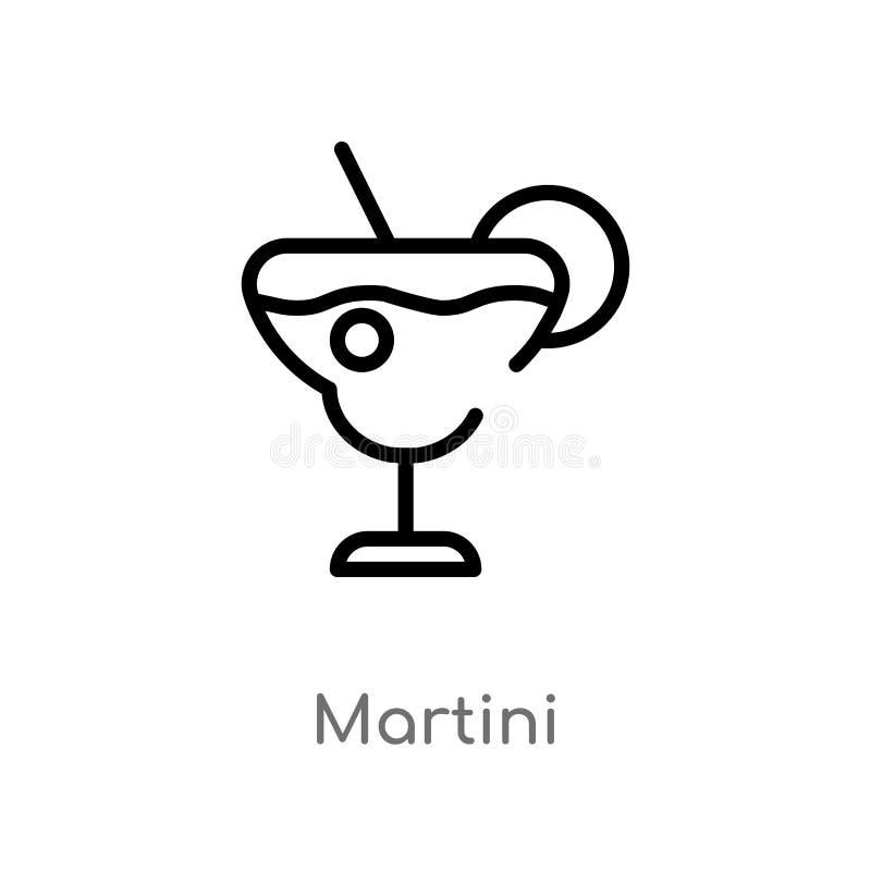 ícone do vetor de martini do esboço linha simples preta isolada ilustração do elemento do conceito das bebidas curso editável mar ilustração stock