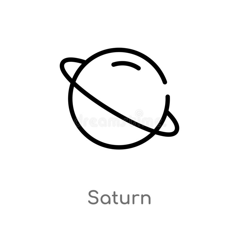 ícone do vetor de Saturno do esboço linha simples preta isolada ilustra??o do elemento do conceito da astronomia curso editável S ilustração royalty free