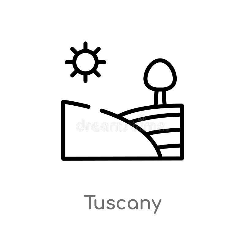ícone do vetor de Toscânia do esboço linha simples preta isolada ilustração do elemento do conceito das culturas curso editável T ilustração do vetor