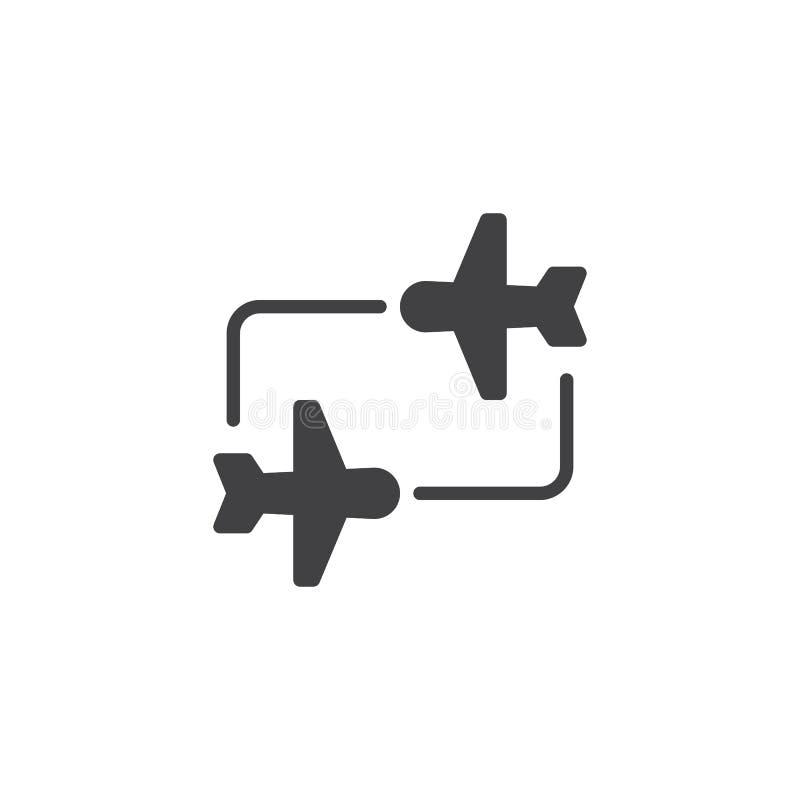 Ícone do vetor de transferência do voo ilustração stock