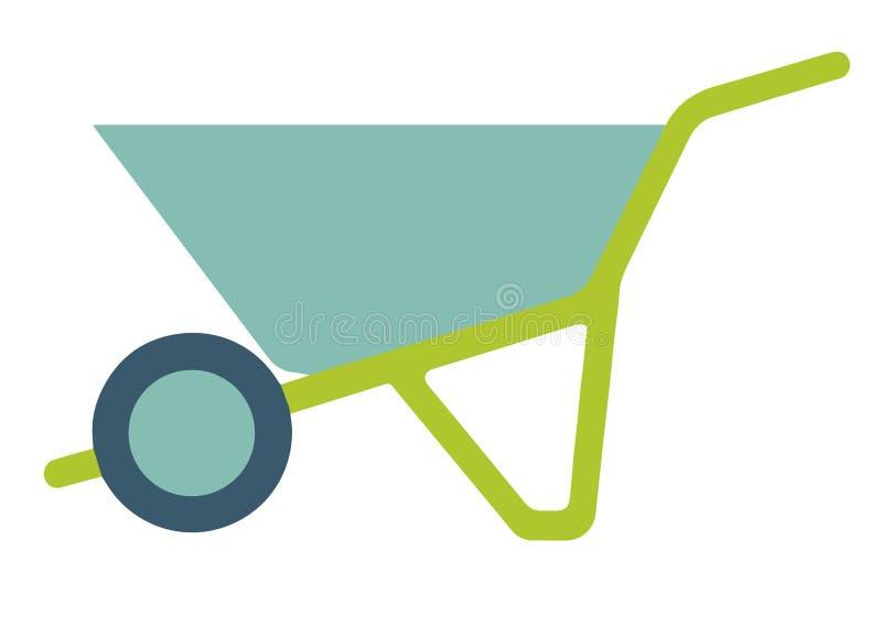 Ícone do vetor de um carro verde do impulso do carrinho de mão usado para a jardinagem ou as obras ilustração royalty free