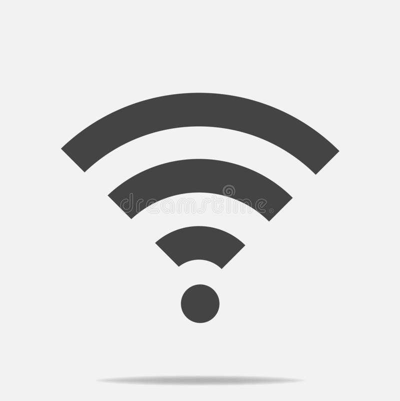 Ícone do vetor de WiFi no fundo cinzento Ilustração do logotipo de Wi-Fi ilustração royalty free