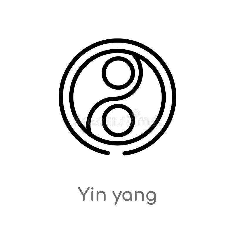 ícone do vetor de yang do yin do esboço linha simples preta isolada ilustração do elemento do conceito da acomodação Curso editáv ilustração do vetor