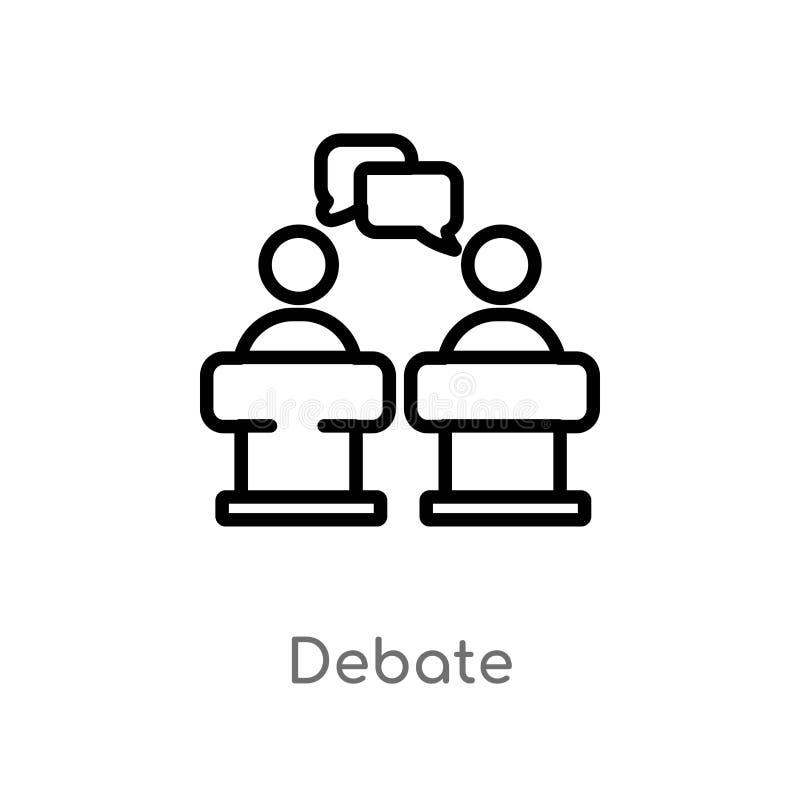 ícone do vetor do debate do esboço linha simples preta isolada ilustração do elemento do conceito político debate editável do cur ilustração do vetor