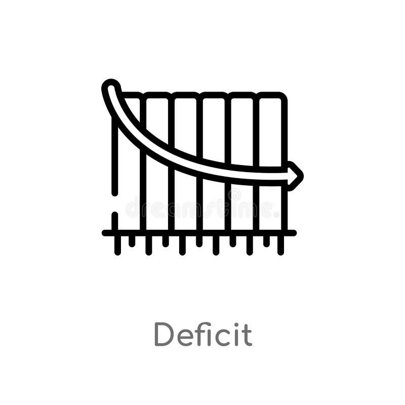 ícone do vetor do deficit do esboço linha simples preta isolada ilustração do elemento do conceito do negócio deficit editável do ilustração do vetor