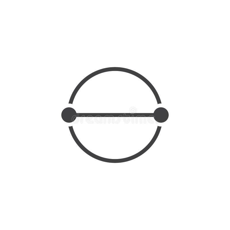 Ícone do vetor do diâmetro do círculo ilustração royalty free