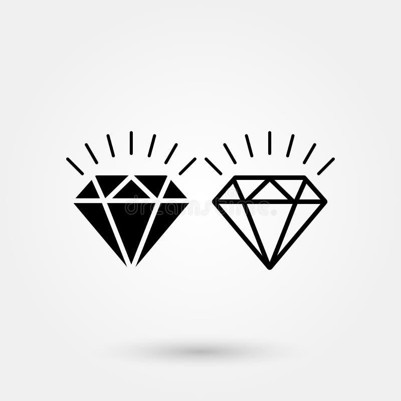Ícone do vetor do diamante da ilustração do ícone do vetor do brilho do diamante ilustração stock