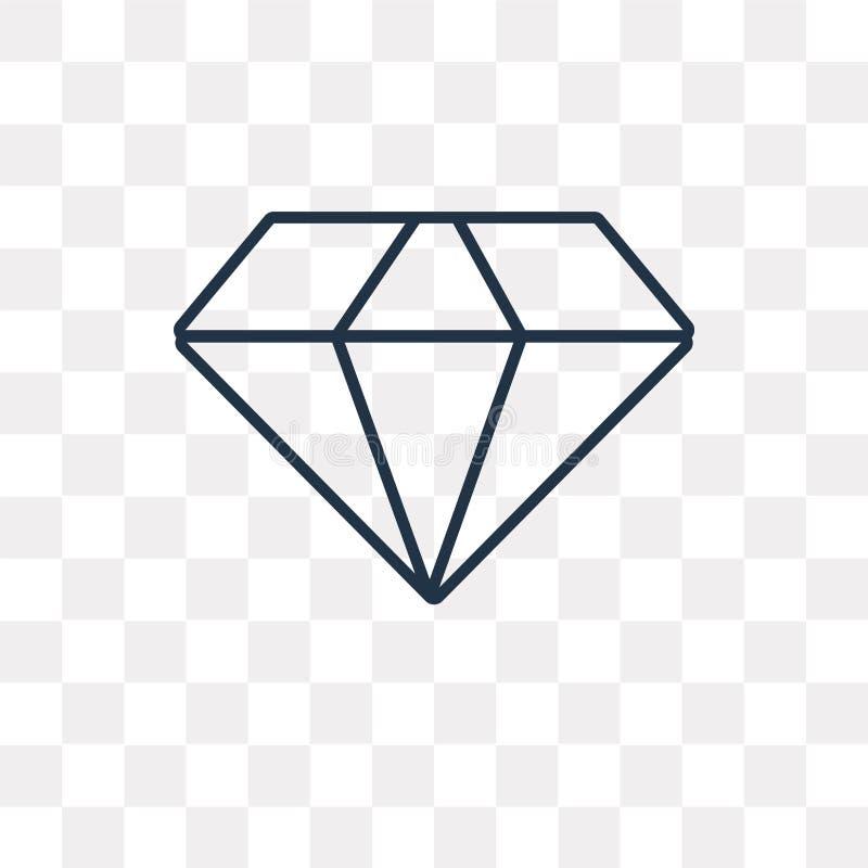 Ícone do vetor do diamante isolado no fundo transparente, D linear ilustração stock