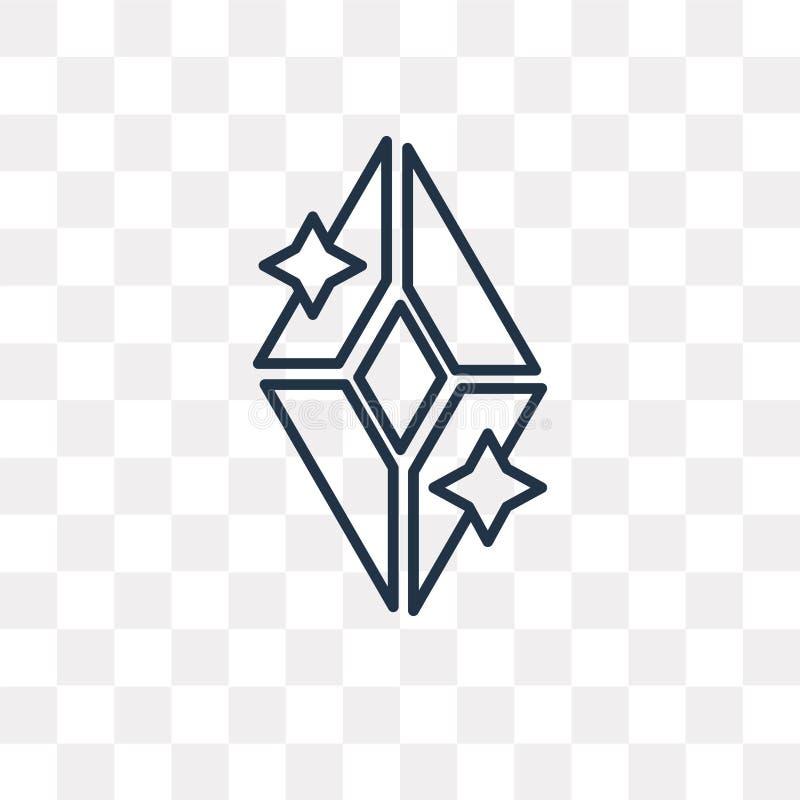 Ícone do vetor do diamante isolado no fundo transparente, D linear ilustração royalty free
