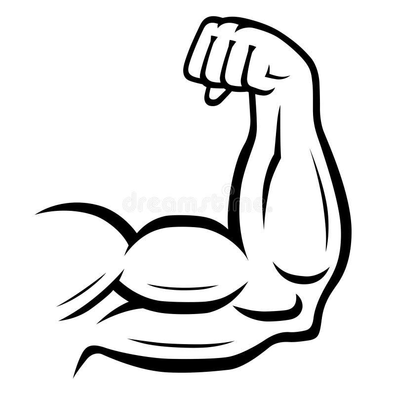 Ícone do vetor do braço forte Esporte, aptidão, conceito do halterofilismo ilustração royalty free