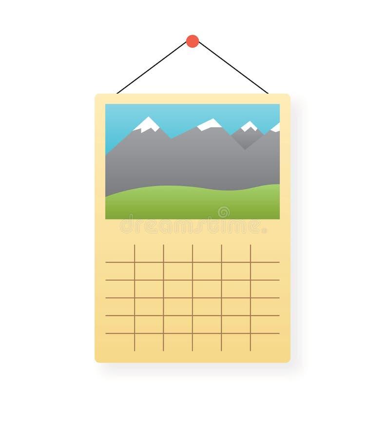 Ícone do vetor do calendário de parede isolado ilustração royalty free