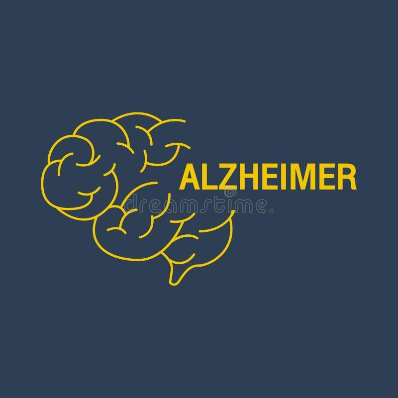 Ícone do vetor do logotipo de ALZHEIMER ilustração stock