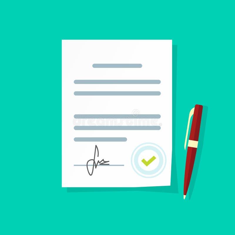 Ícone do vetor do original do acordo, página de papel legal do contrato da folha com assinatura e selo aprovado ilustração royalty free
