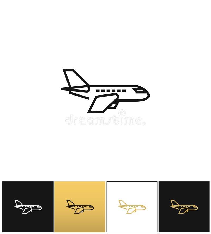 Ícone do vetor do pictograma, do jato ou do avião do plano de ar ilustração royalty free